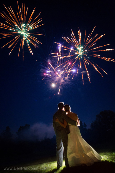 Fireworks for a wedding reception