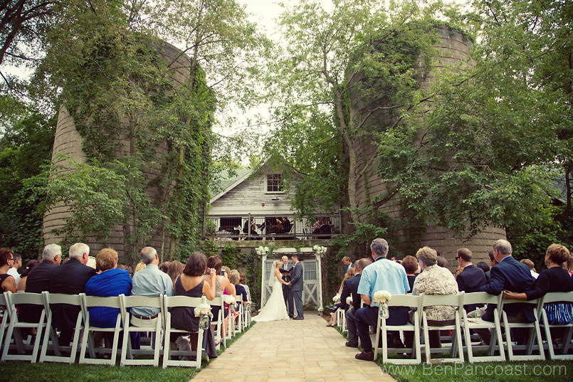 A wedding ceremony at the Blue Dress Barn in Millburg Michigan.