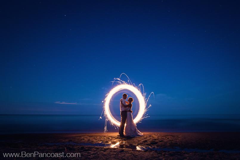 Sparklers, Beach wedding, portraits