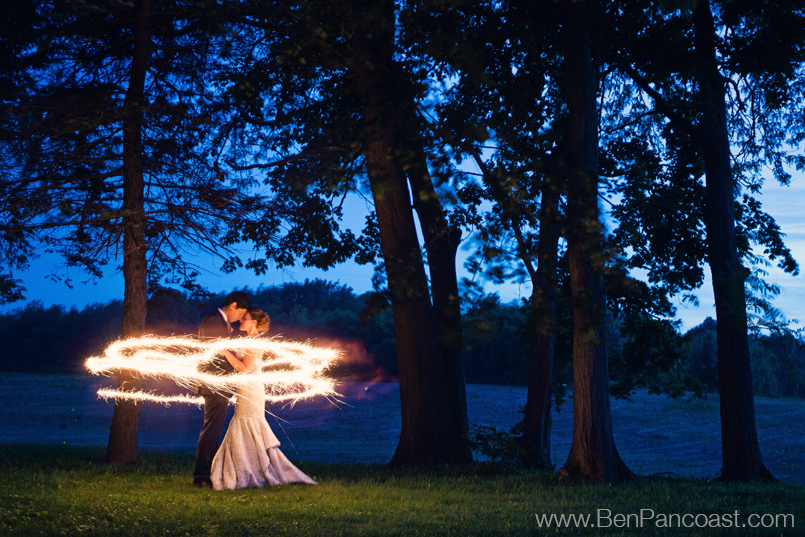 Wedding Sparkler Photos at Hidden Vineyard