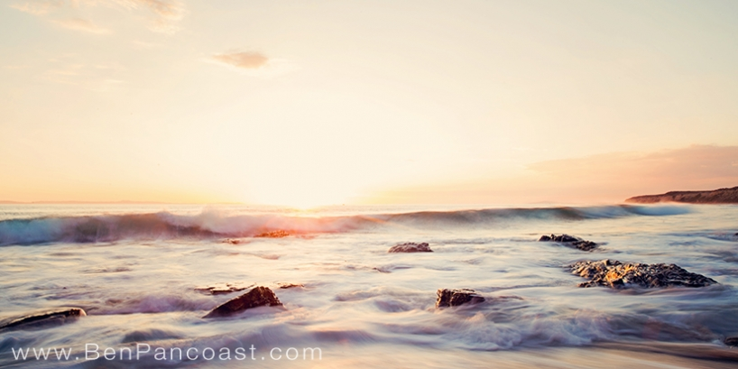 Sunset at Crystal Cove in California.