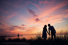 Engagement Photos, Sunset, Lighthouse, Michigan